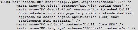 dublin core HTML