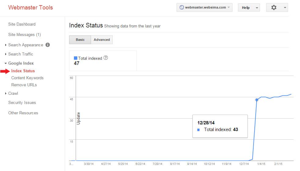 تعداد صفحات ایندکس شده در گوگل وبمستر