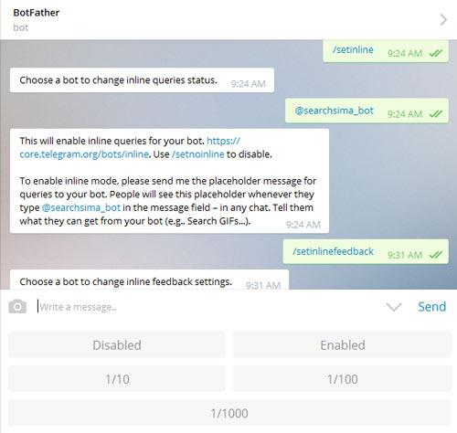 فعال سازی setinline برای ربات تلگرام