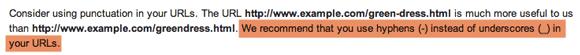 پیشنهاد گوگل واسه استفاده از خط تیره در پیوند یکتا