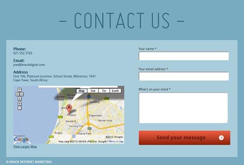 فرم تماس با ما بجای فرم ثبت نام