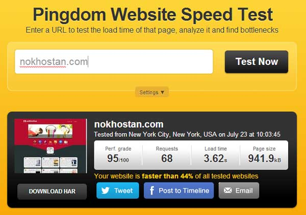 امتحان سرعت سایت