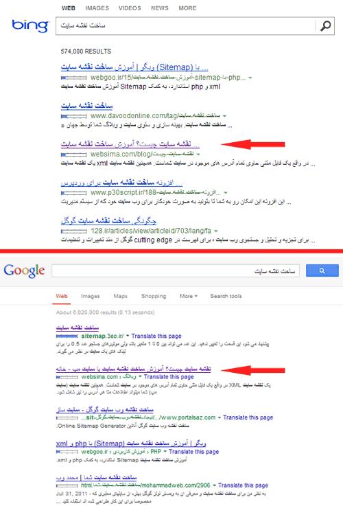 مقایسه موتور جستجوی بینگ و گوگل