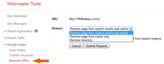 remove urls وبمستر گوگل