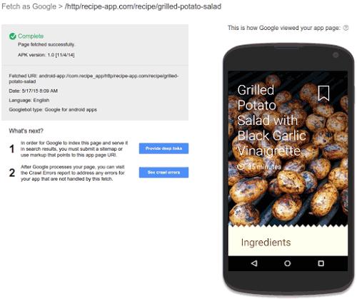 برنامه اندروید در Search console گوگل