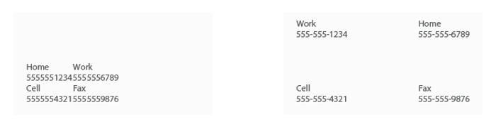تاثیر فضای خالی در نمایش اطلاعات تماس سایت