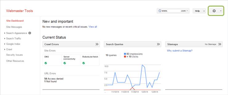نمایی از پنل مدیریت گوگل وبمستر تولز