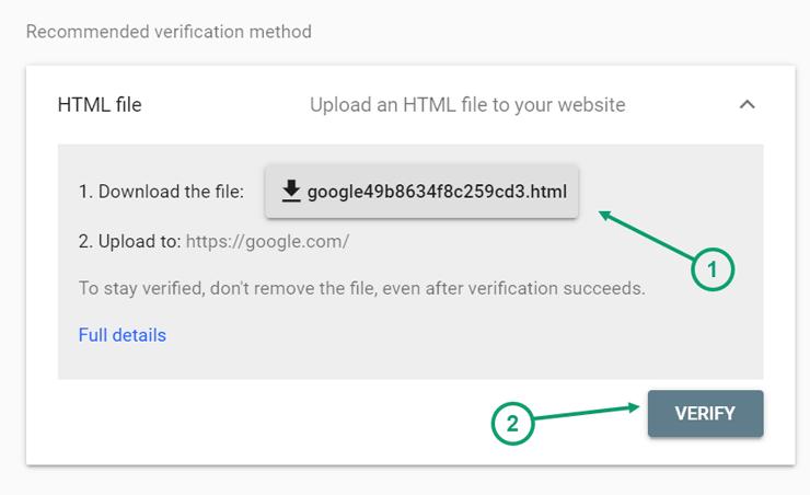 استفاده از متد پیشنهادی گوگل یعنی HTML File برای ثبت سایت
