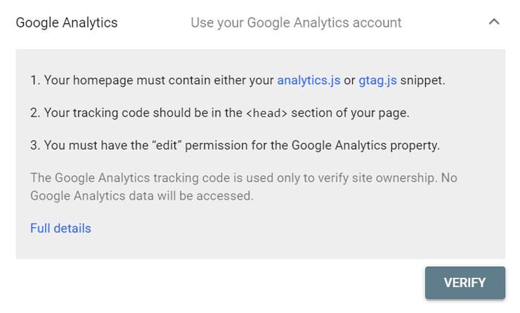 تایید هویت سایت در گوگل سرچ کنسول با استفاده از google analytics