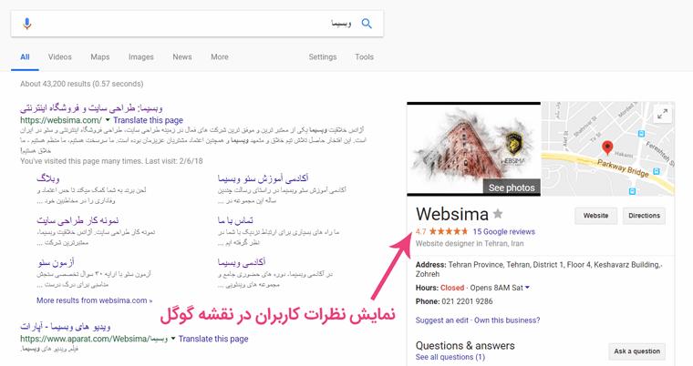 درج نظرات کاربران در نقشه گوگل