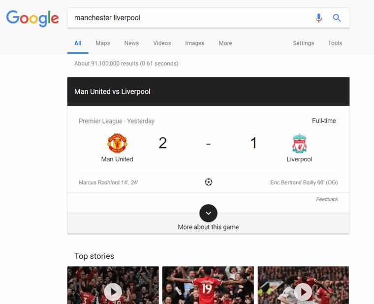 نمایش live results در جستجوی گوگل