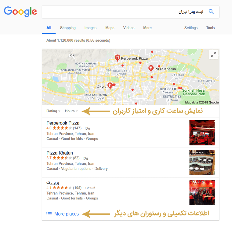 نمایش local business در گوگل