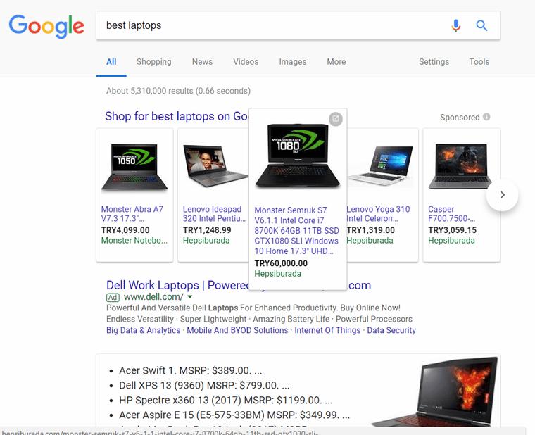 نمایش carousel در نتایج جستجو