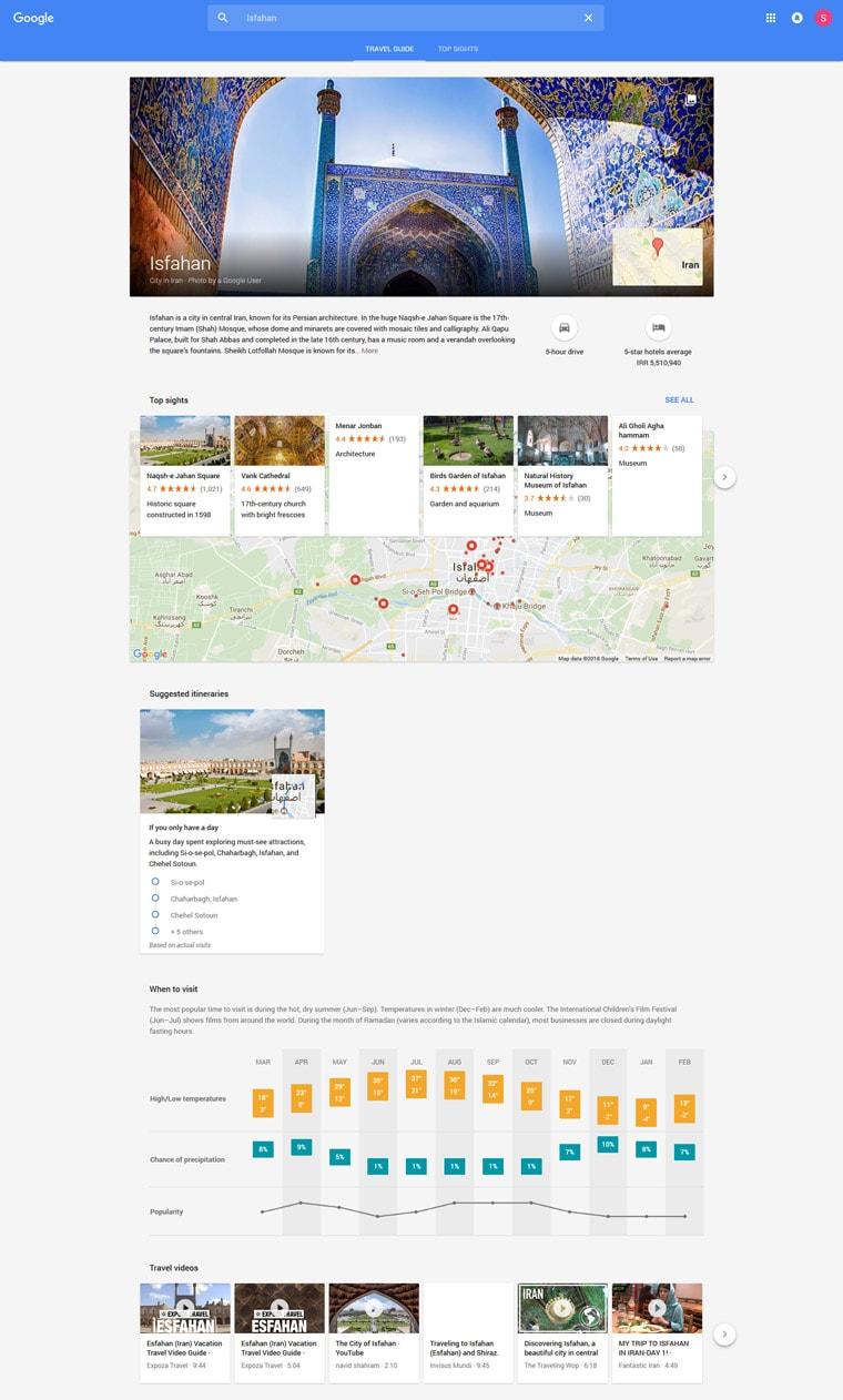 نمایش google travel guide هنگام جستجو