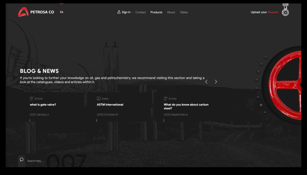 سایت پتروساکو || طراحی شده توسط آژانس خلاقیت وبسیما